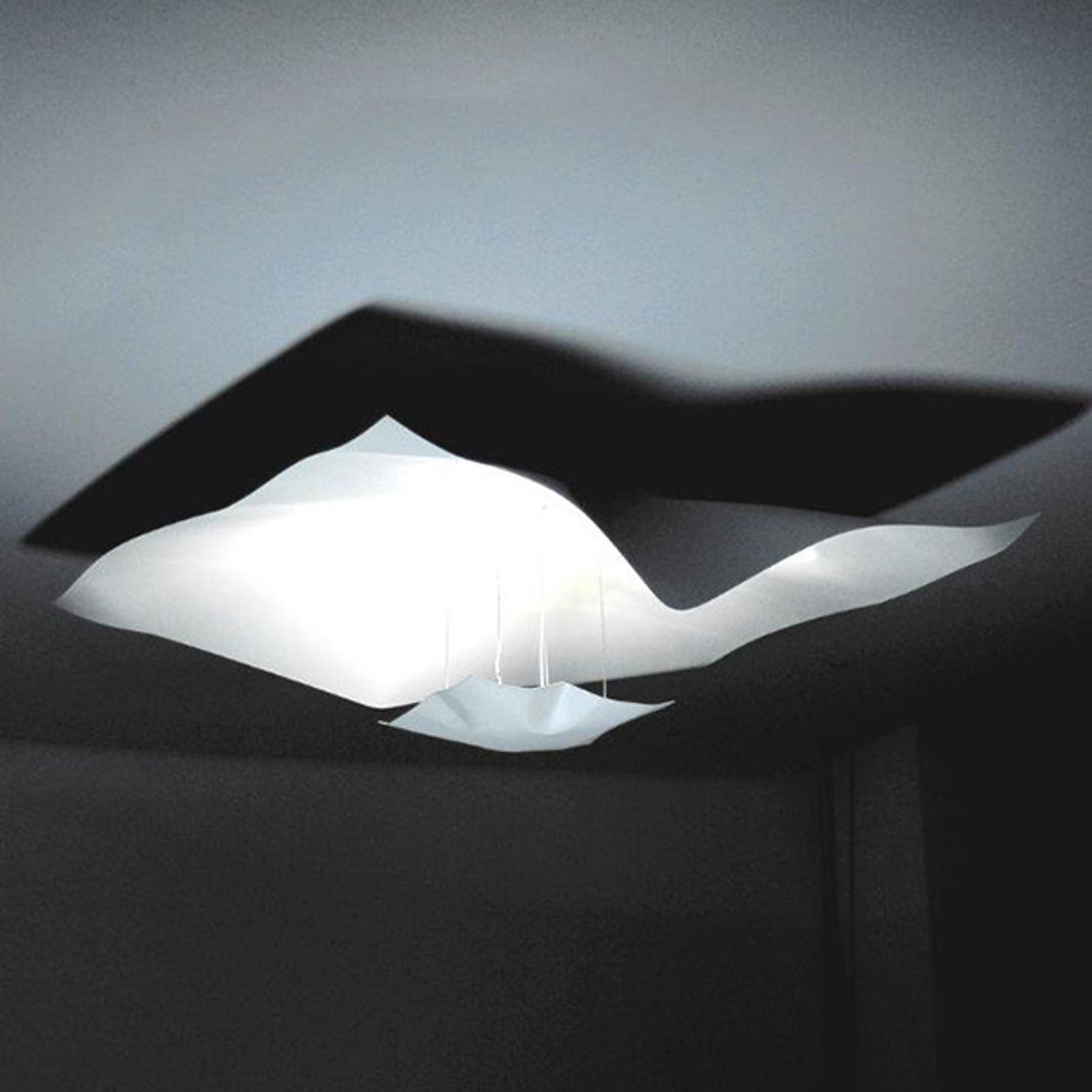 Hvit taklampe Crash, 75 cm