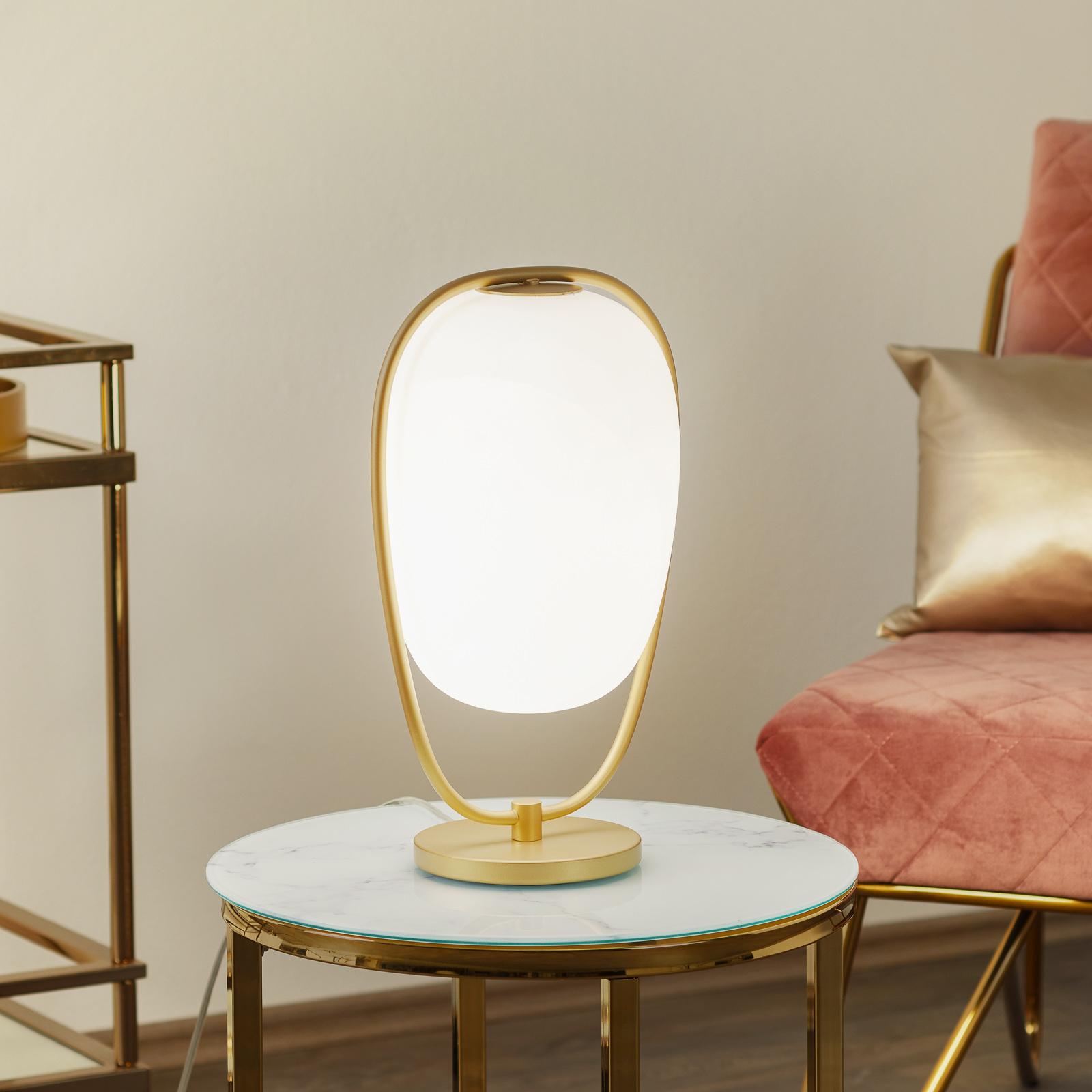 Lampa stołowa Lanna z kloszem z dmuchanego szkła