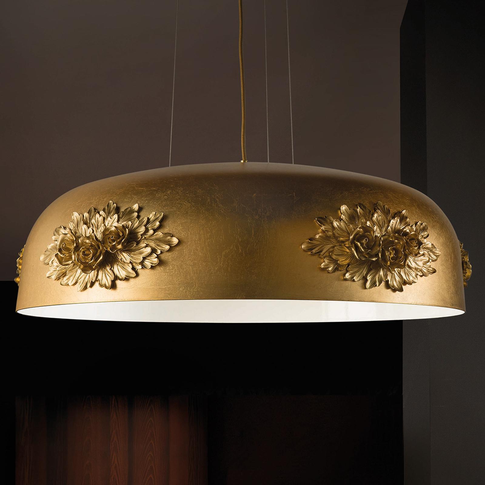 Lampa wisząca LED Dame z płatkowym złotem, 80cm