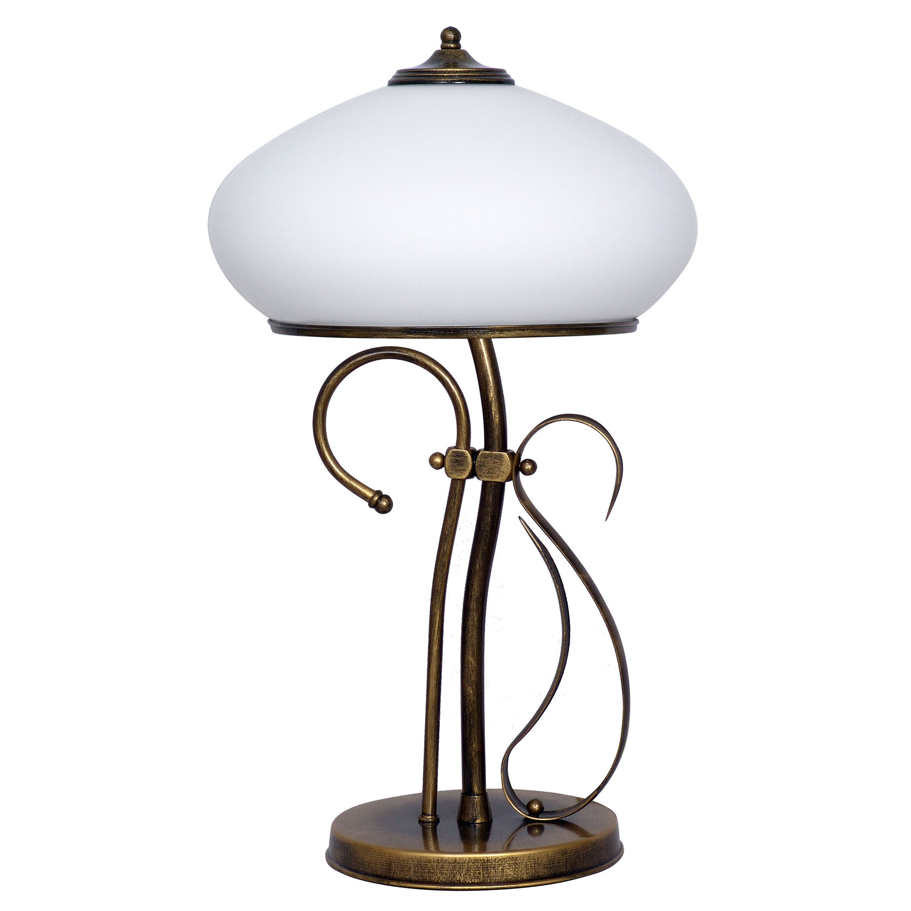Tischleuchte 493, Opalglas/gold antik, Höhe 60 cm