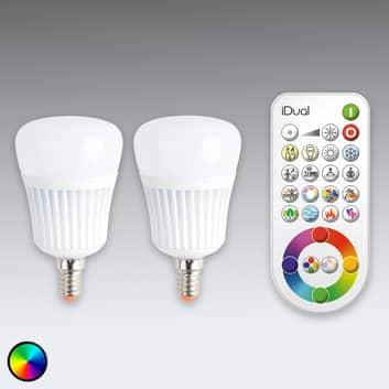 iDual E14 LED-pære m fjernkontroll, sett m 2