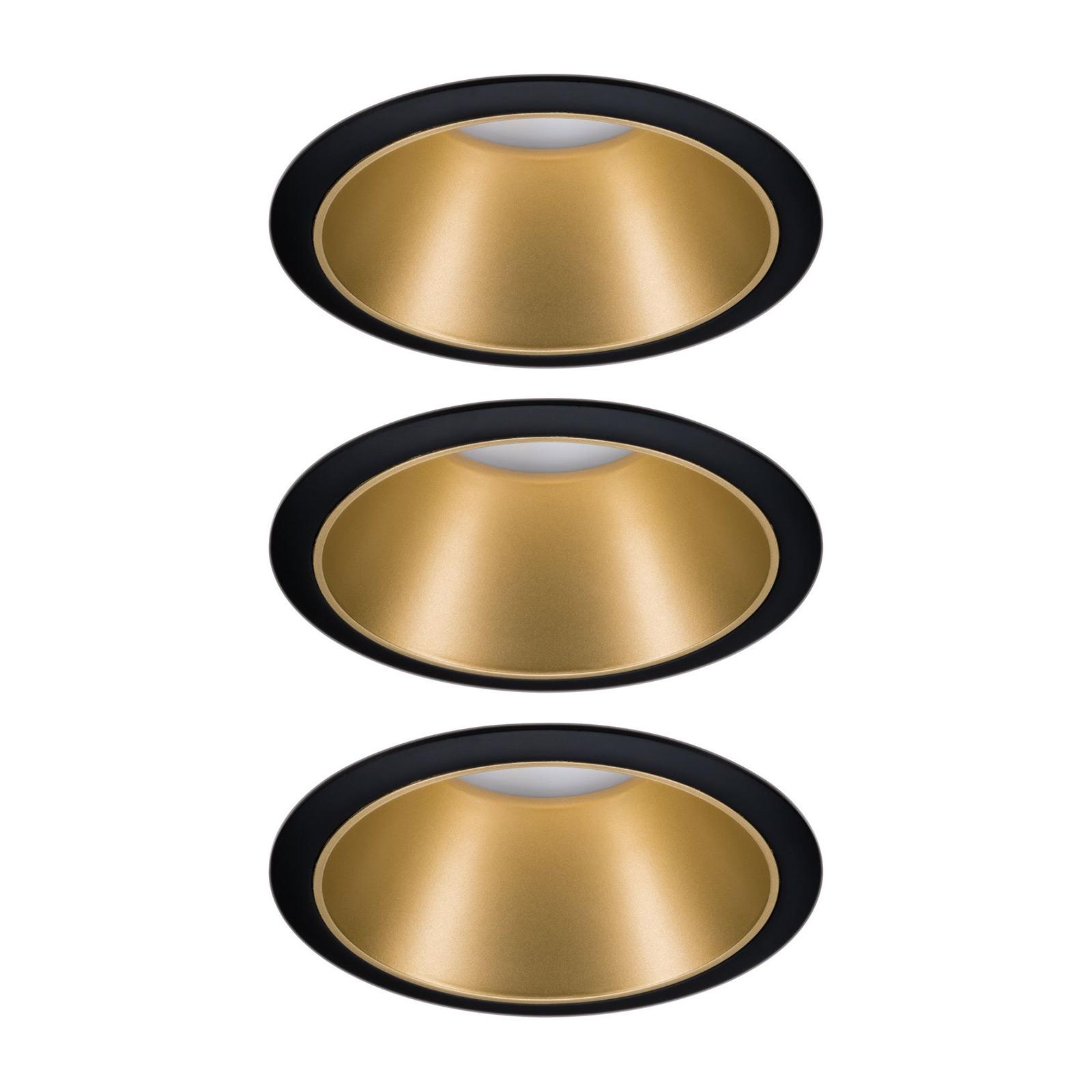 Paulmann Cole spot LED, doré-noir, lot de 3