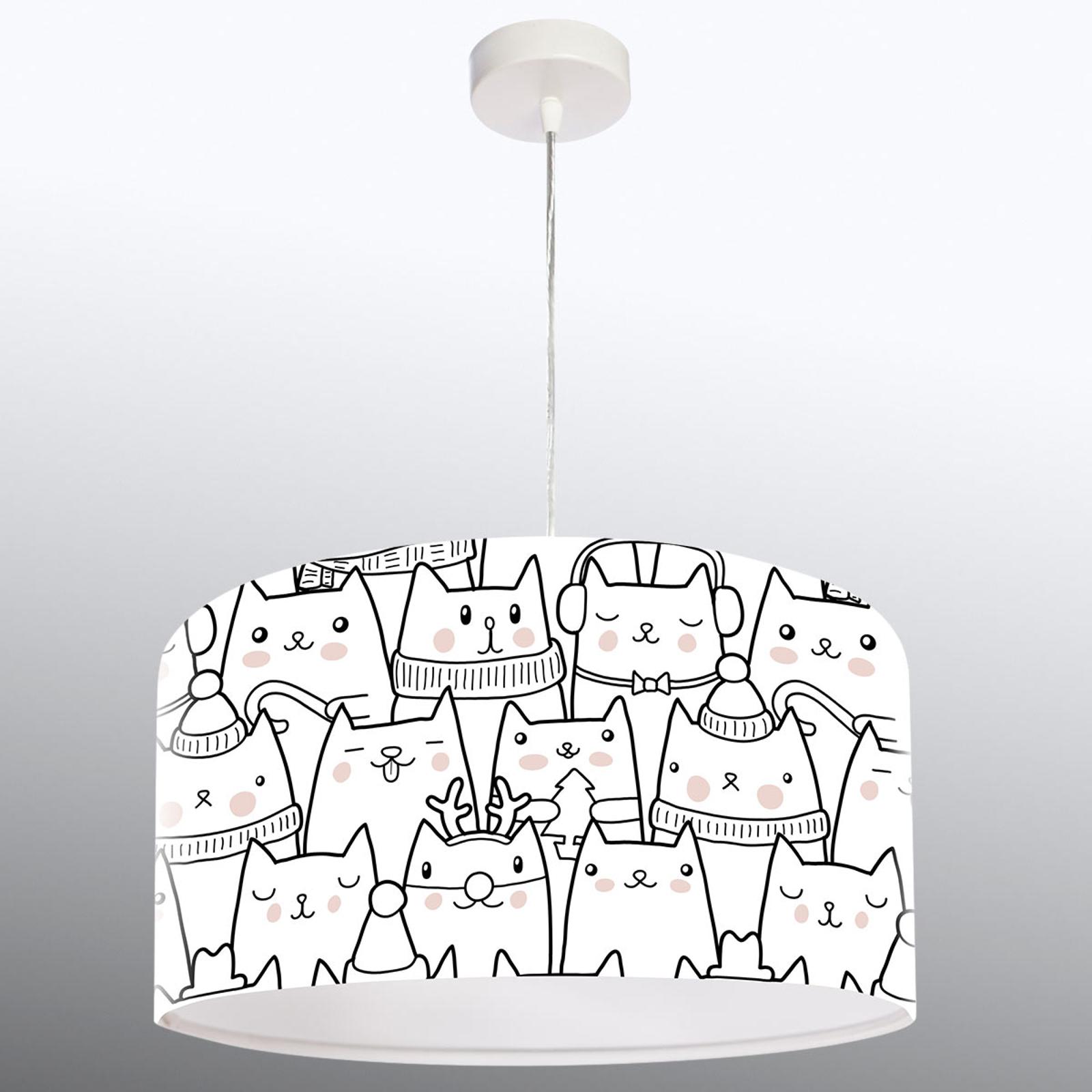 Lámpara colgante Cats con patrón de gatos