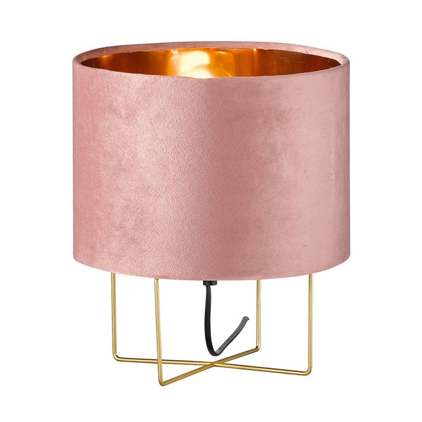 Tafellamp Aura, fluwelen kap, hoogte 32 cm, roze