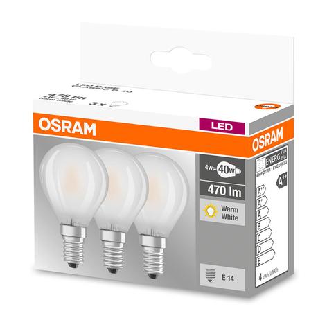 LED-lamppu E14 4W, lämmin valkoinen, 470 lm, 3 kpl