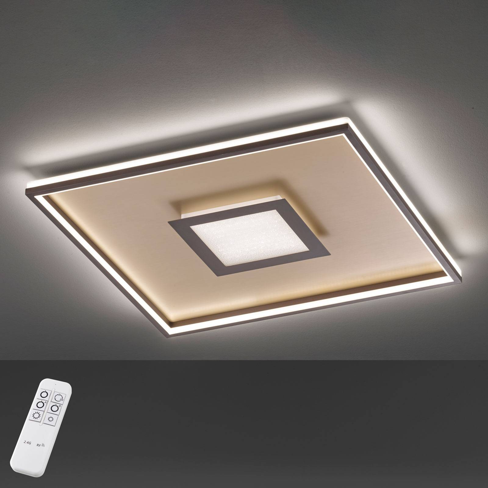 Plafoniera LED Bug quadrata, ruggine 60x60 cm