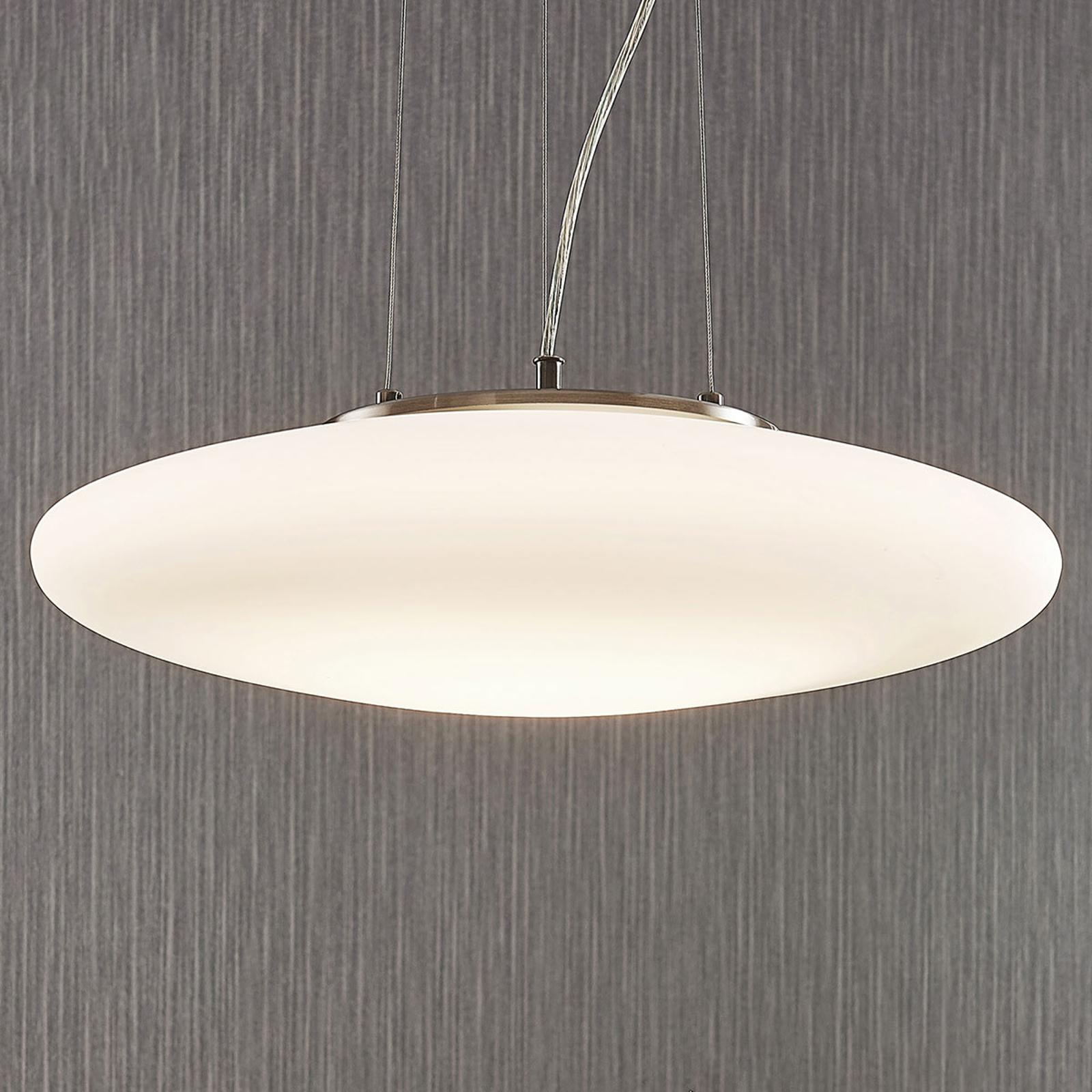LED závěsné světlo z opálového skla Gunda, bílé