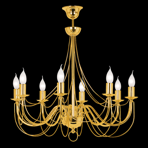 Lampadario Retro color oro, a 8 luci