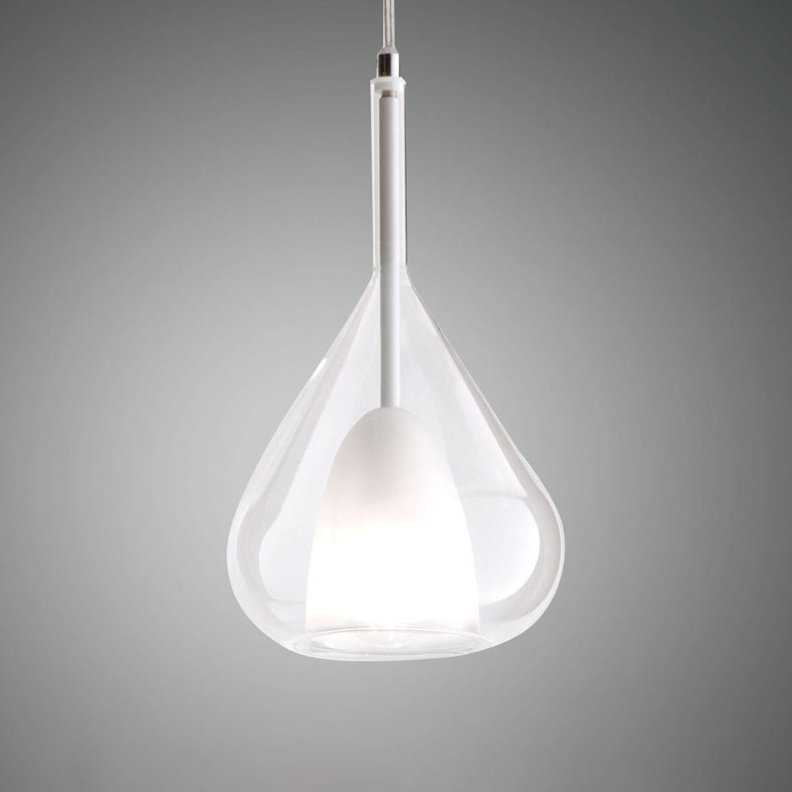 Hanglamp Lila van glas, 1-lamp, helder