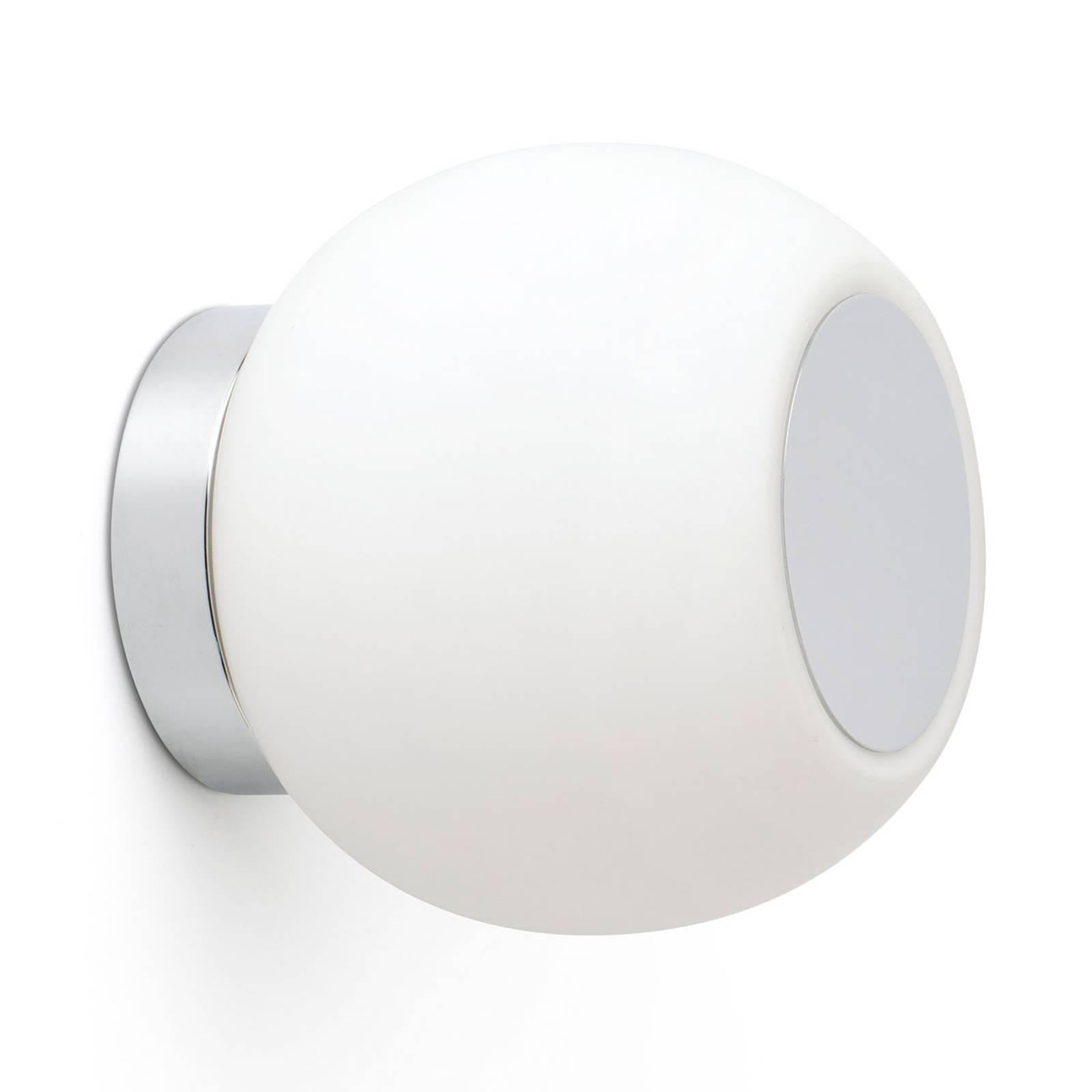 LED wandlamp Moy in chroom met glazen kap