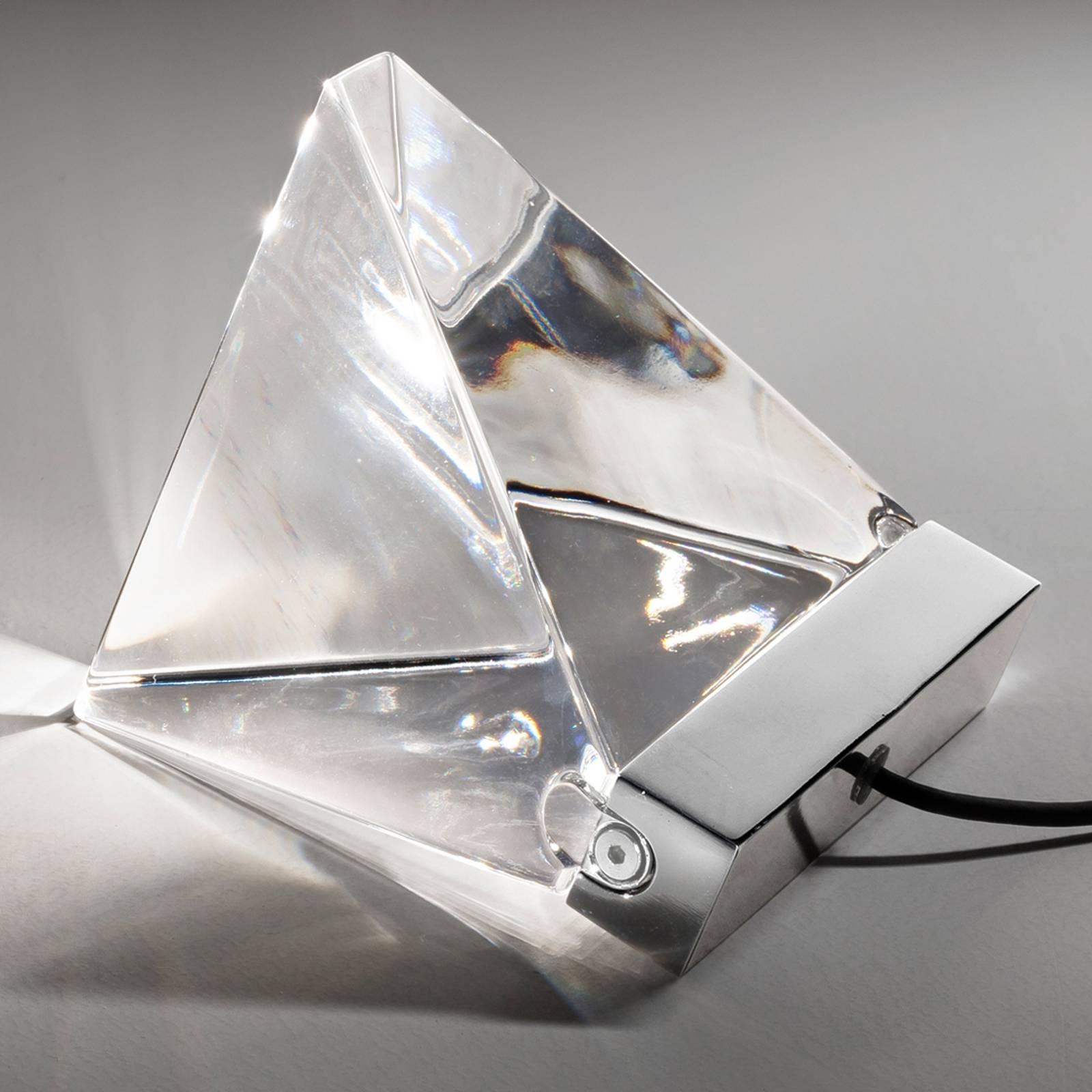 Petite lampe à poser en cristal Tripla à LED, alu