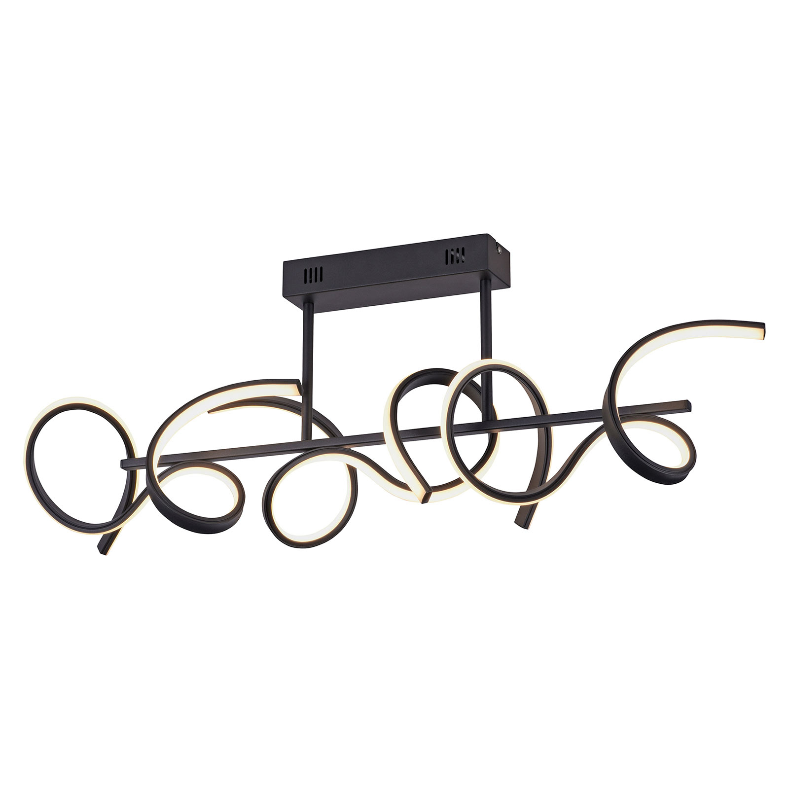 Curls LED-taklampe, svart, dimbar