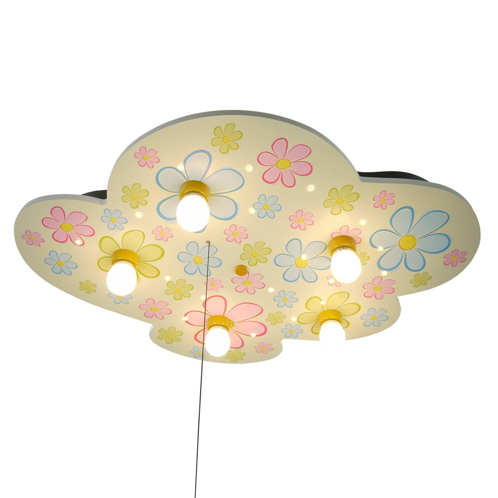 Kolorowe kwiaty – jak chmura, lampa sufitowa z LED