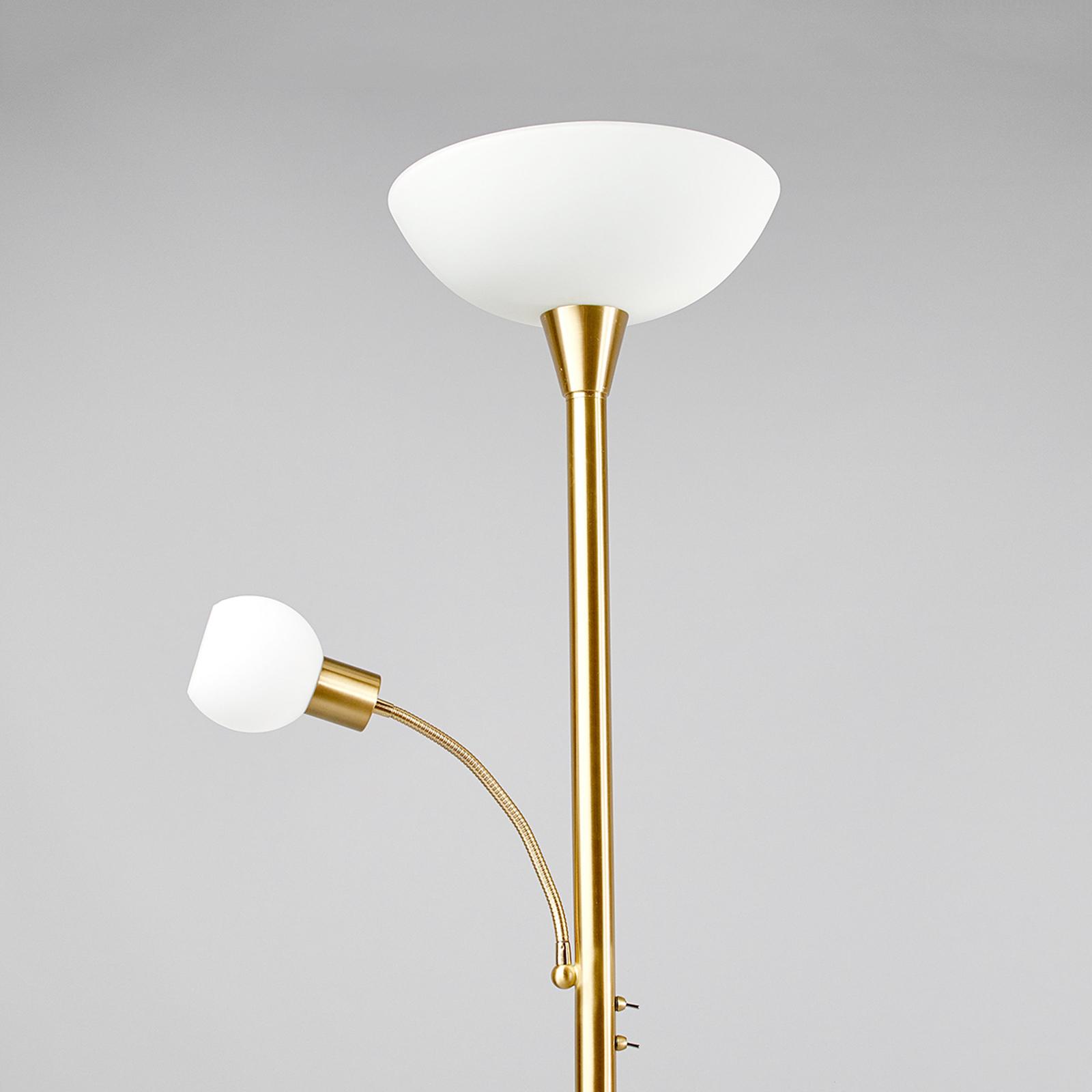 LED-golvlampa Elaina i mässing med läslampa