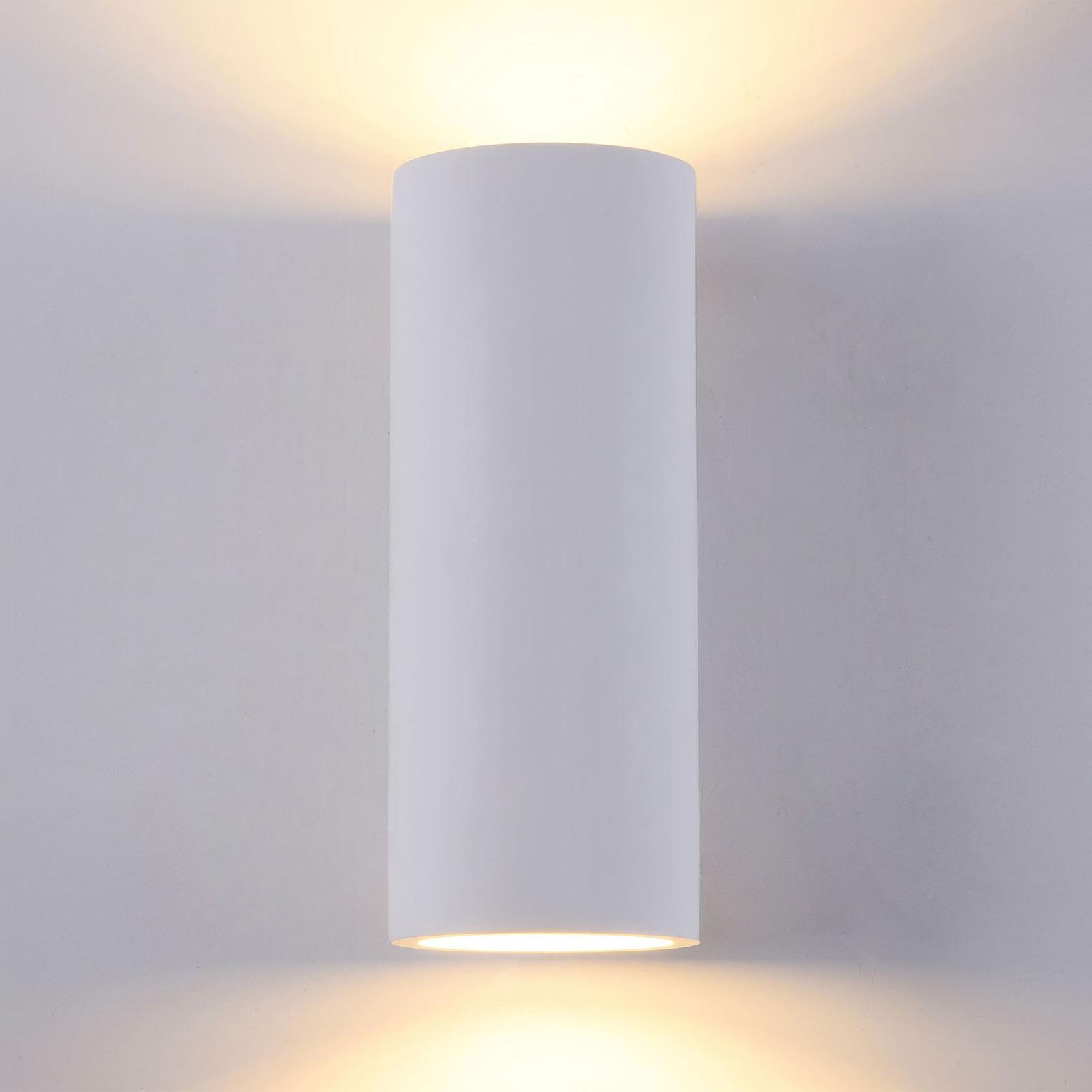 Wandlamp Parma van gips, 8x20 cm
