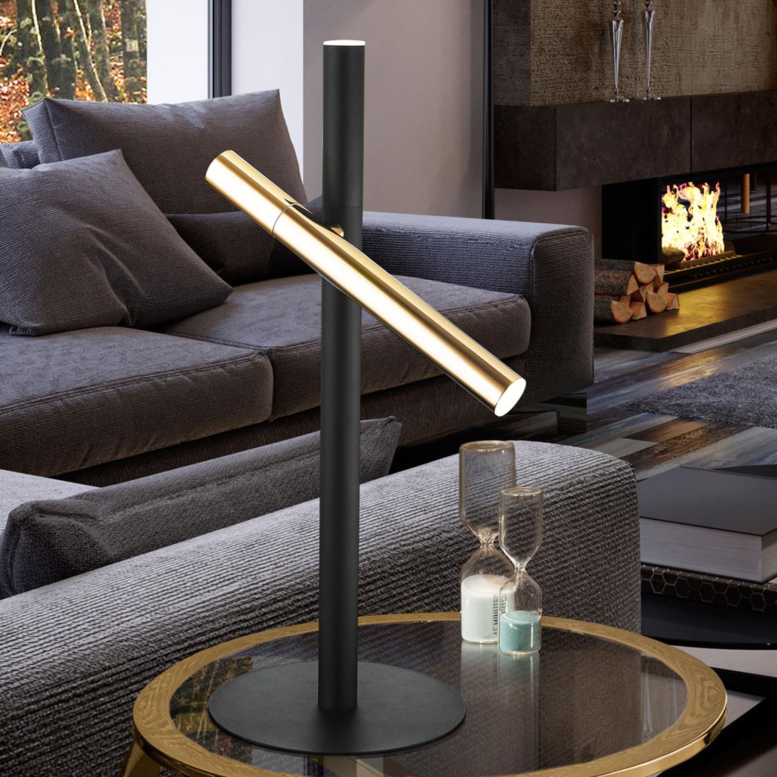 LED-pöytävalaisin Varas musta/kulta 2-lamppuinen