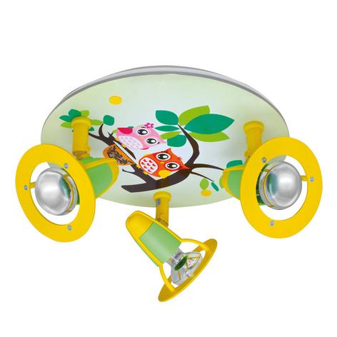 Deckenleuchte Eule fürs Kinderzimmer, grün-gelb