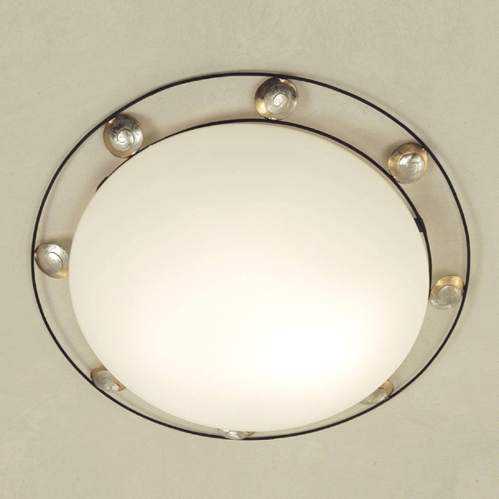 Mooie plafondlamp FRATERNA bruin-goud-zilver