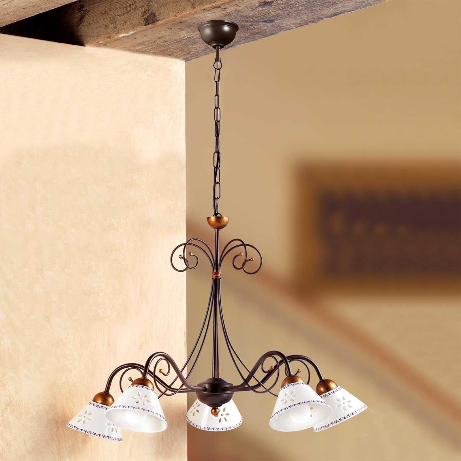 Romantická závesná lampa LIBERTY 5-pl.
