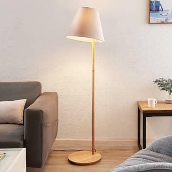 Lucande Jinda vloerlamp, houtframe, fluweel grijs