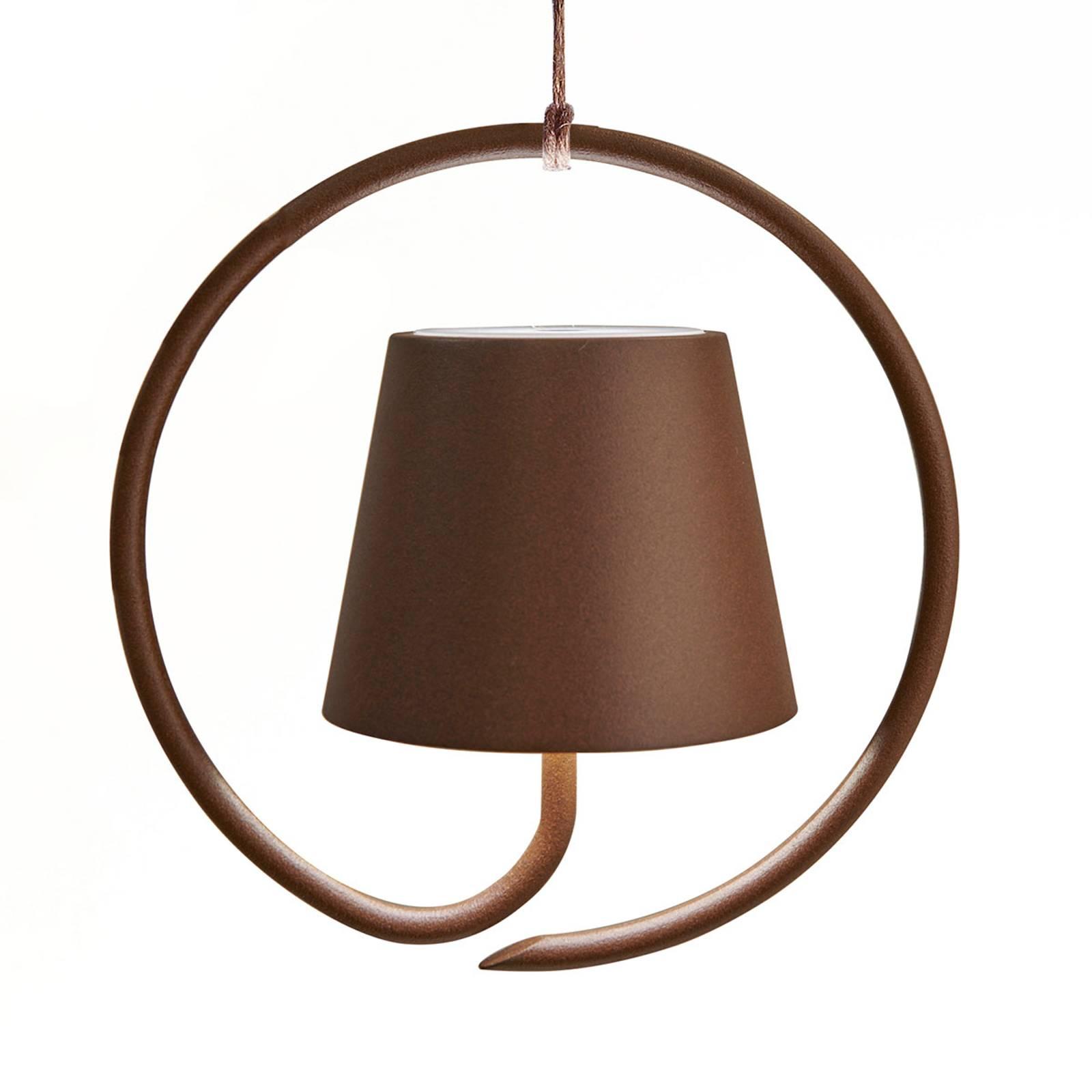 Suspension LED Poldina sur batterie, brun