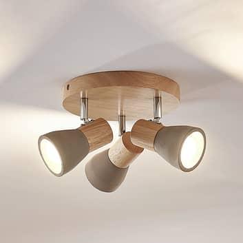 LED reflektor Filiz, dřevo-beton, 3bodový kulatý