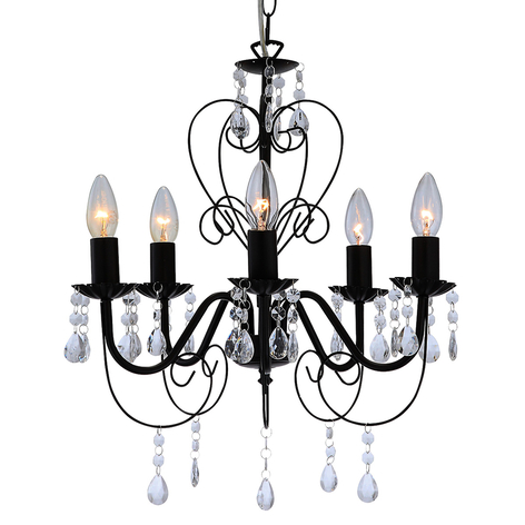Lustre noir Zacharias, à 5 lampes