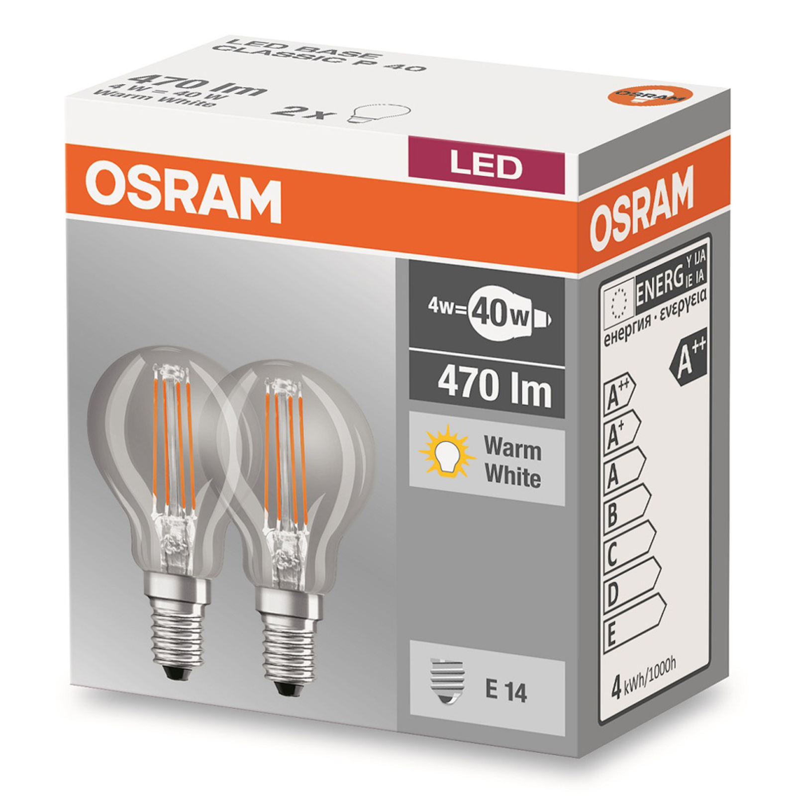 LED-Lampe E14 4W 827 Tropfen Filament 2er-Set