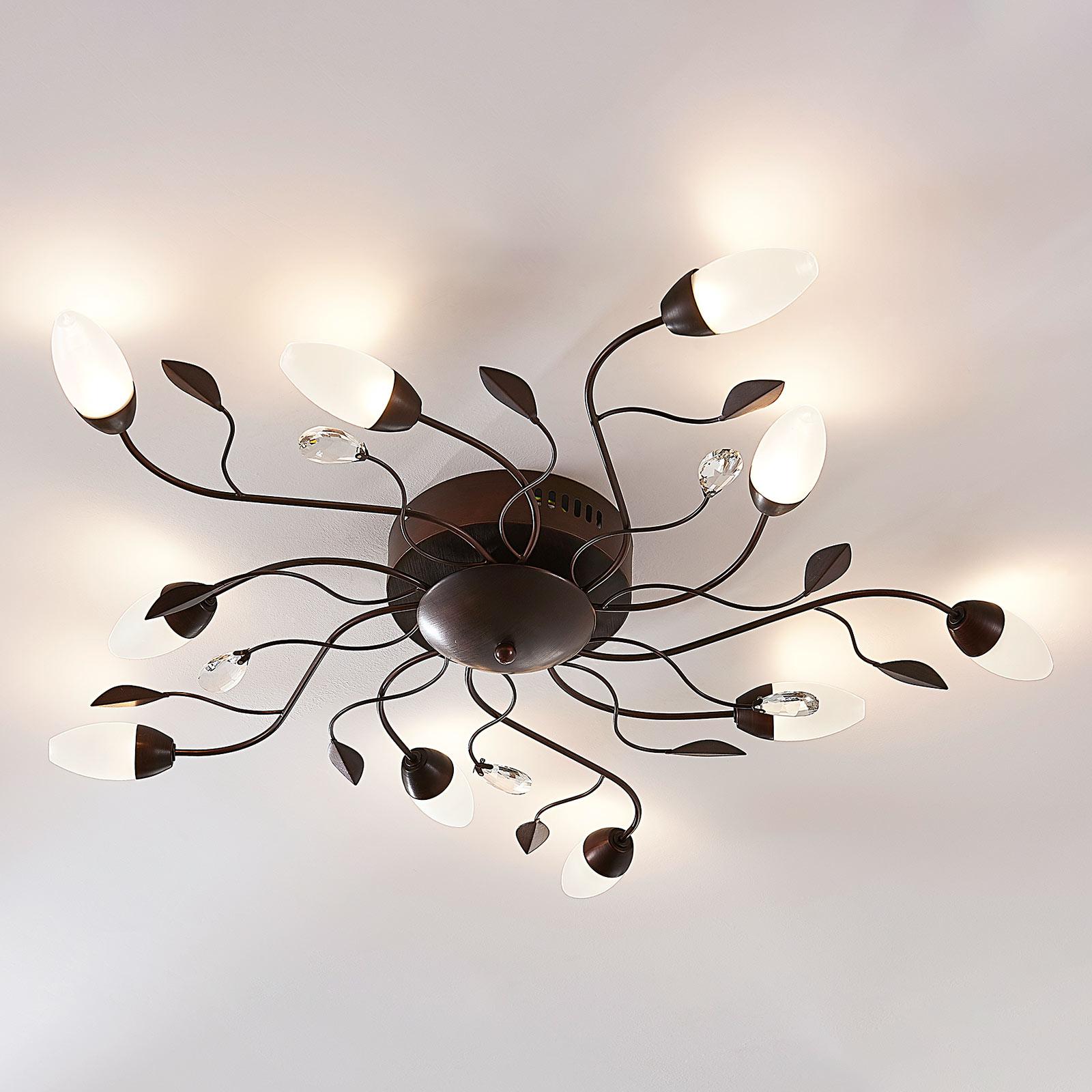 Duża lampa sufitowa Renato z 10 ściemnianymi LED
