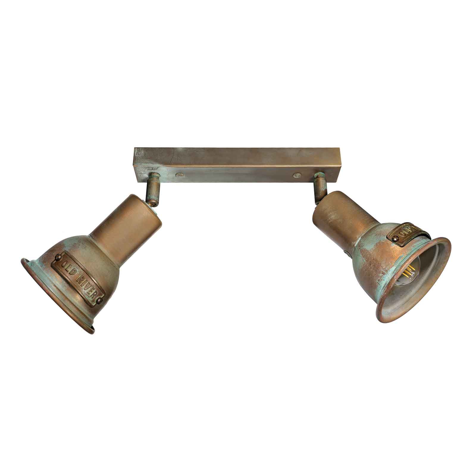 Plafonnier Azali 1548.E27, 2 lampes, laiton ancien