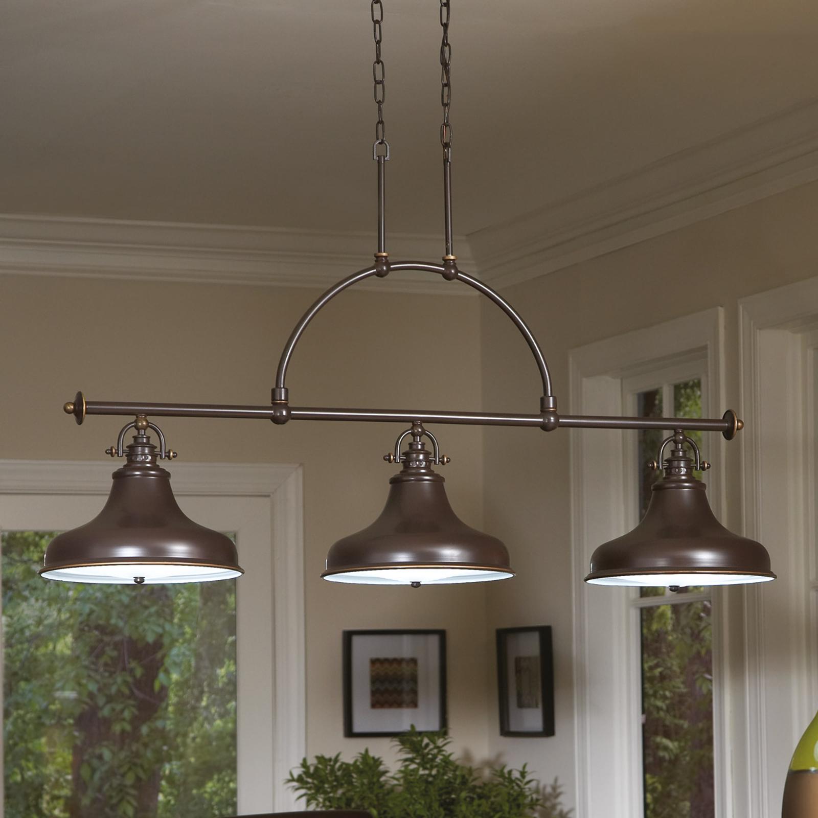 Závesná lampa Emery, priemyselný štýl, bronz 3-pl._3048324_1
