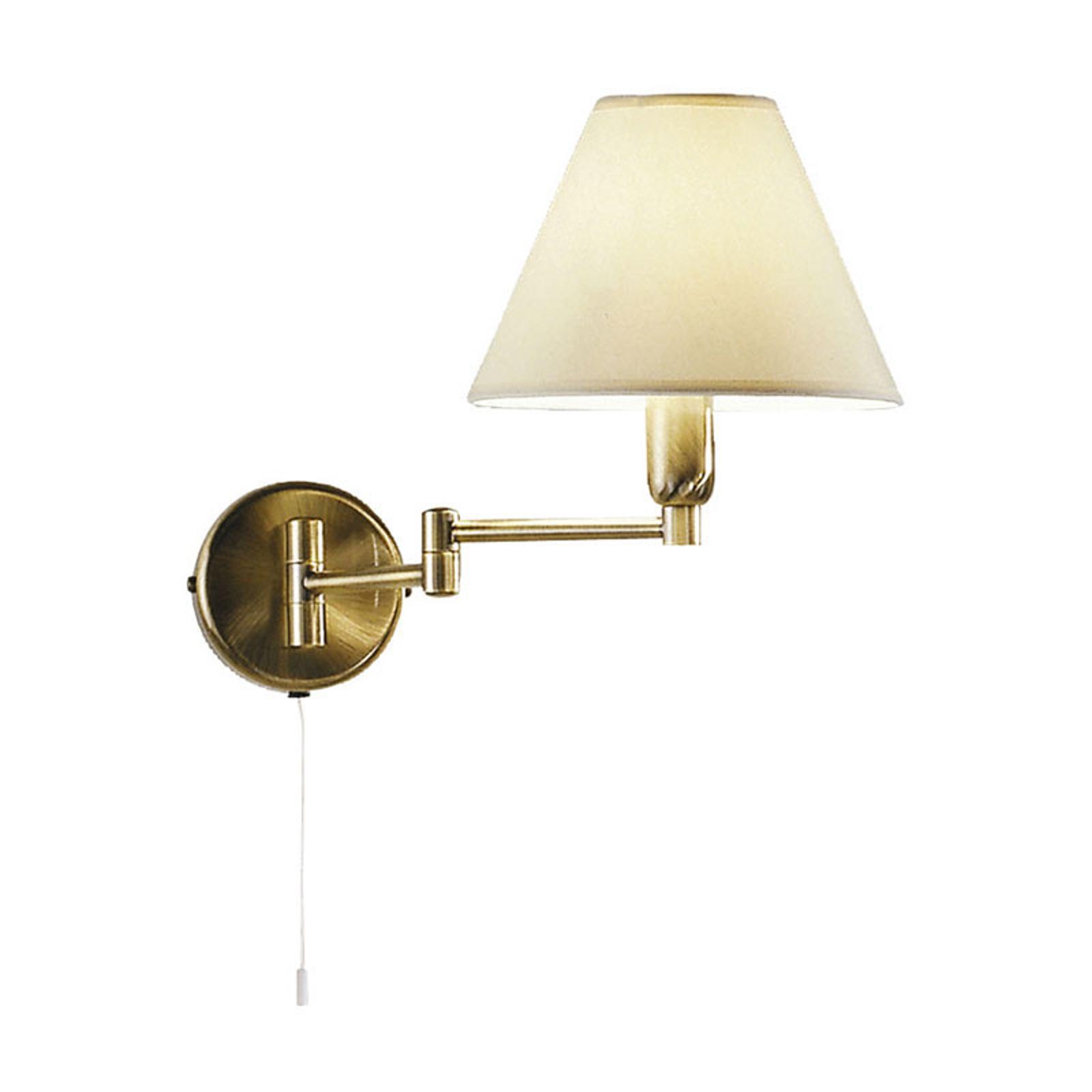 Wandlamp Hilton, witte stoffen kap, oudmessing