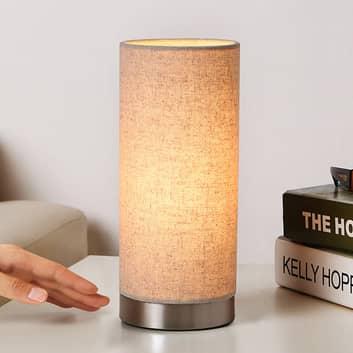 Lámpara de mesa Ronja de tela color crema