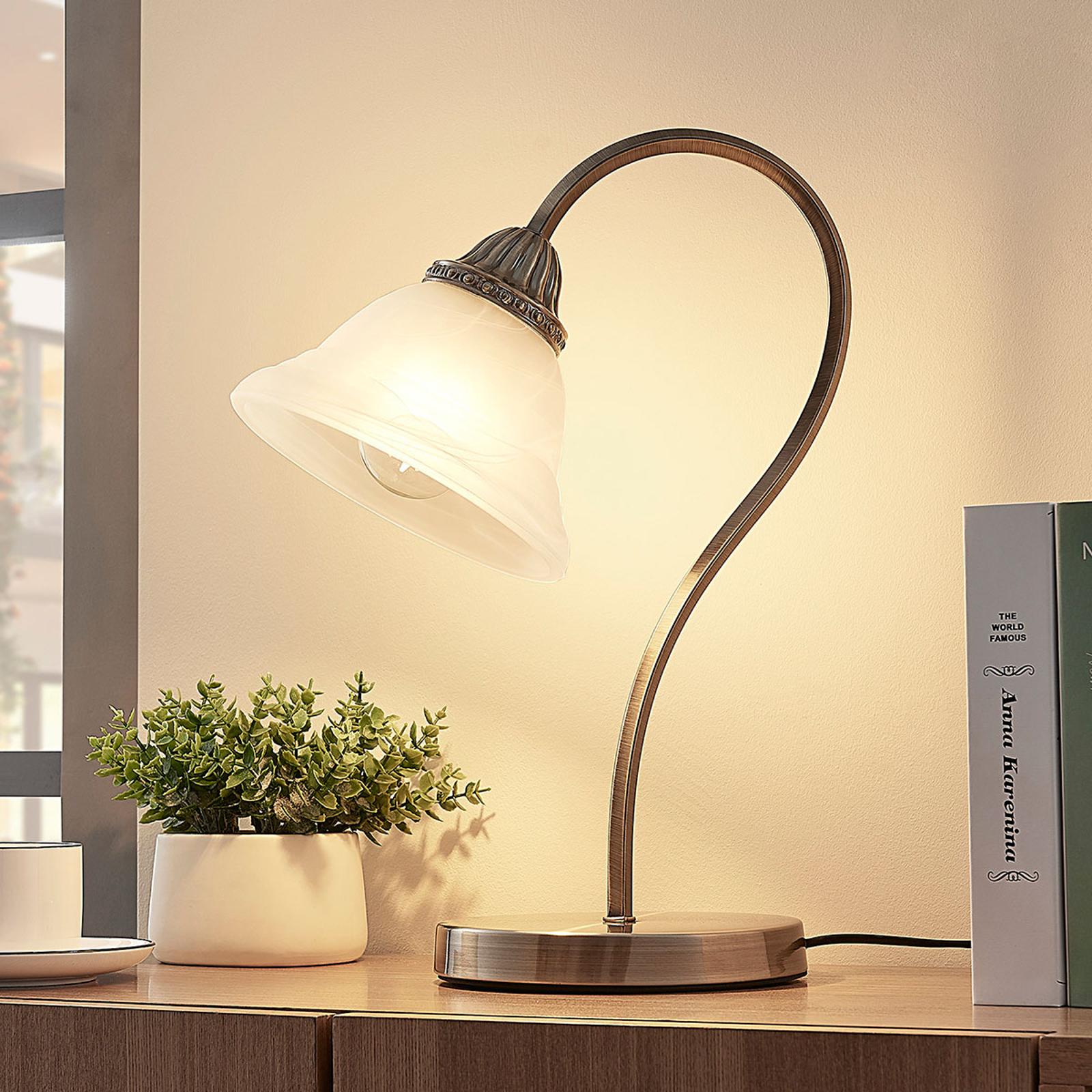 Zahnutá stolní lampička Mialina, LED E27