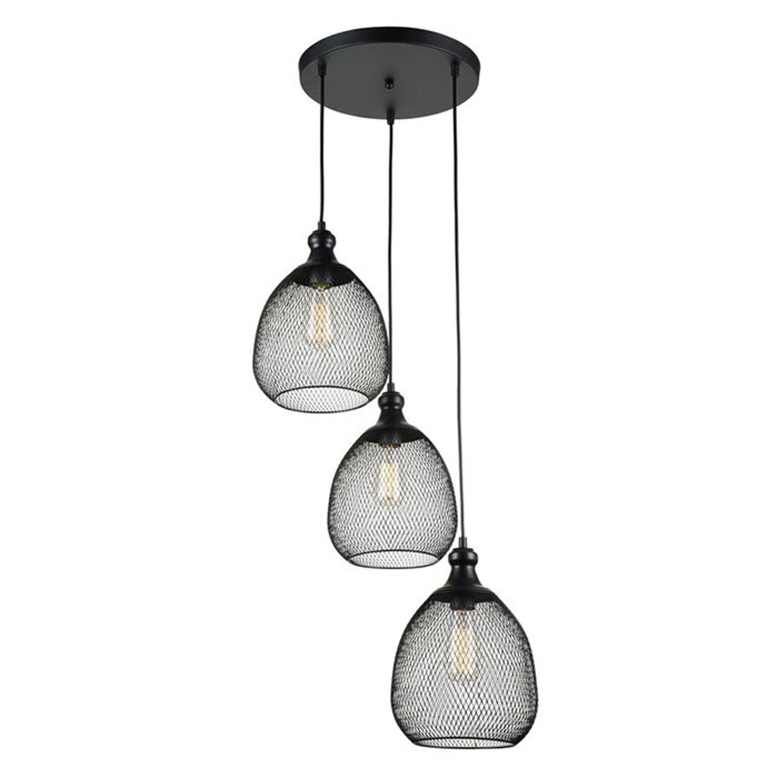 3-punktowa lampa wisząca Grille o wyglądzie klatki