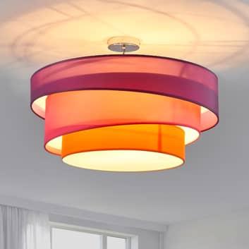 Lámpara de techo Melia tricolor, violeta y rosa