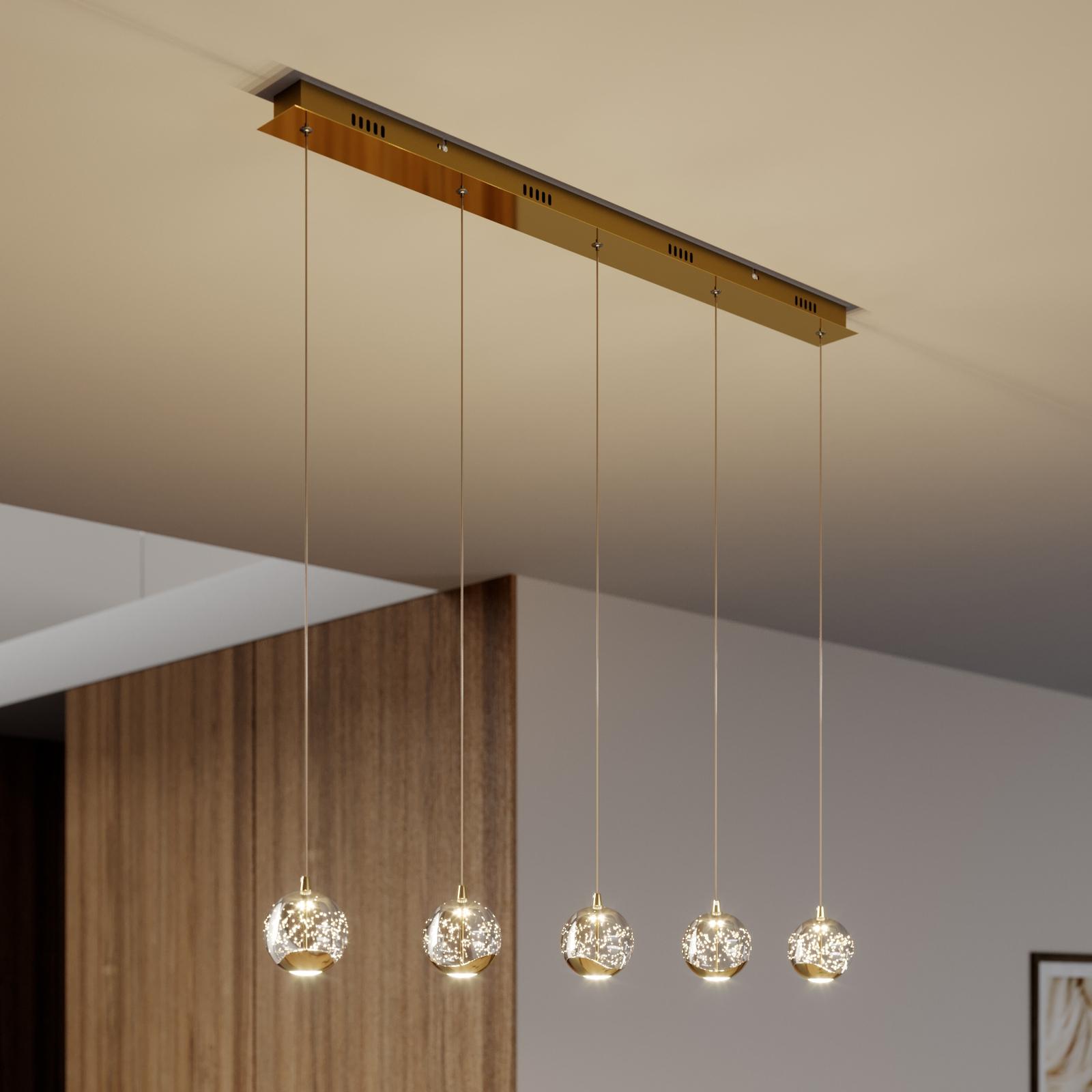 Hayley LED-pendellampe, 5 lyskilder, aflang, guld