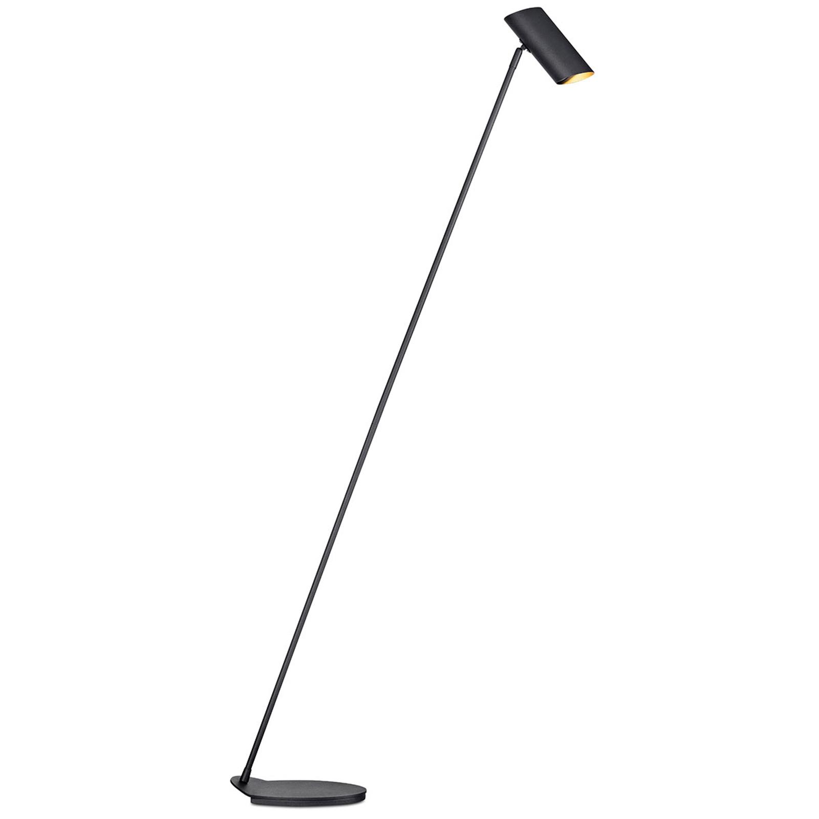 Hester – wdzięczna lampa stojąca z metalu, czarna