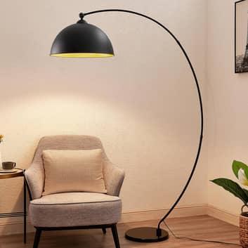 Lindby Beatris oblouková stojací lampa černá dřevo