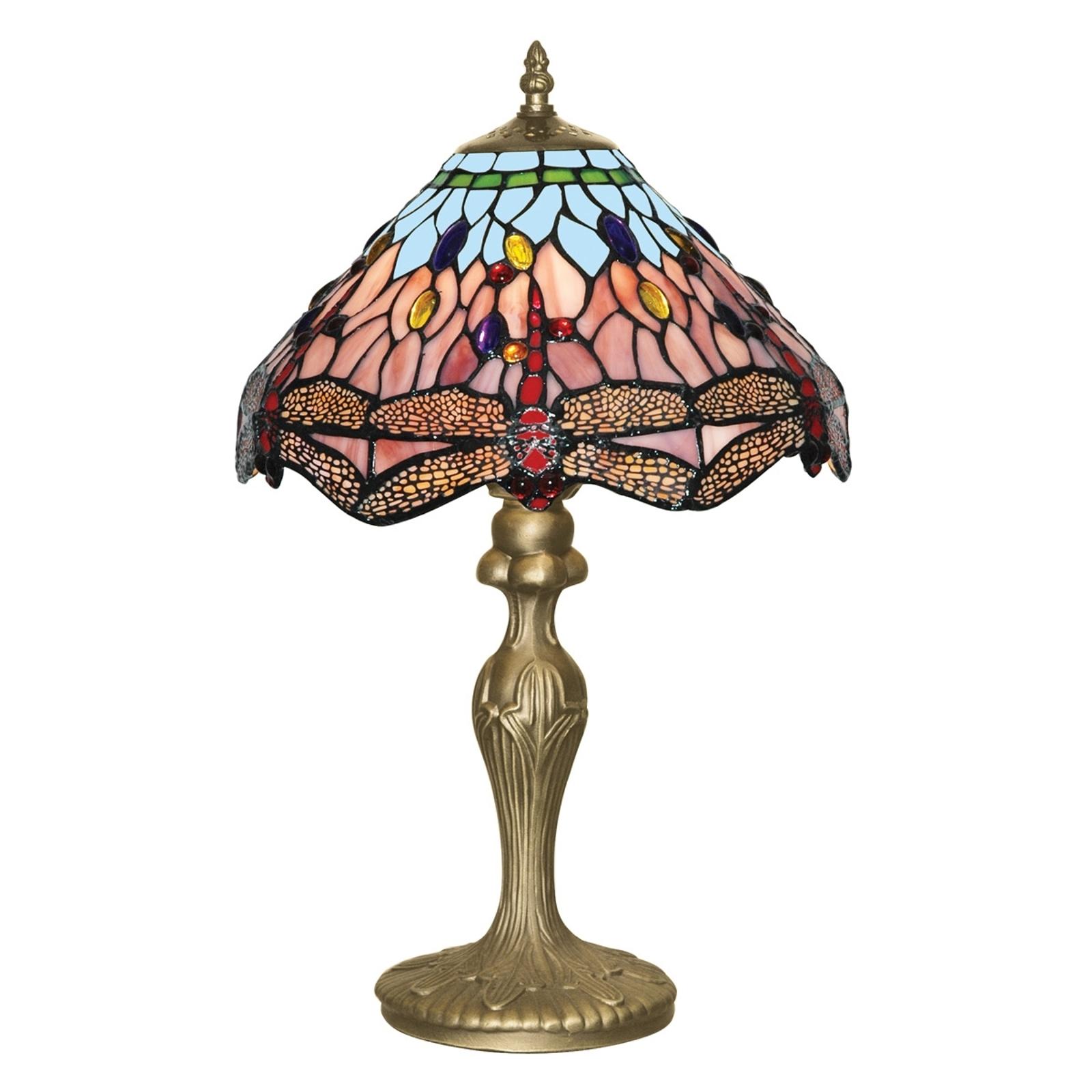 Czarująca lampa stołowa w stylu Tiffany DRAGONFLY