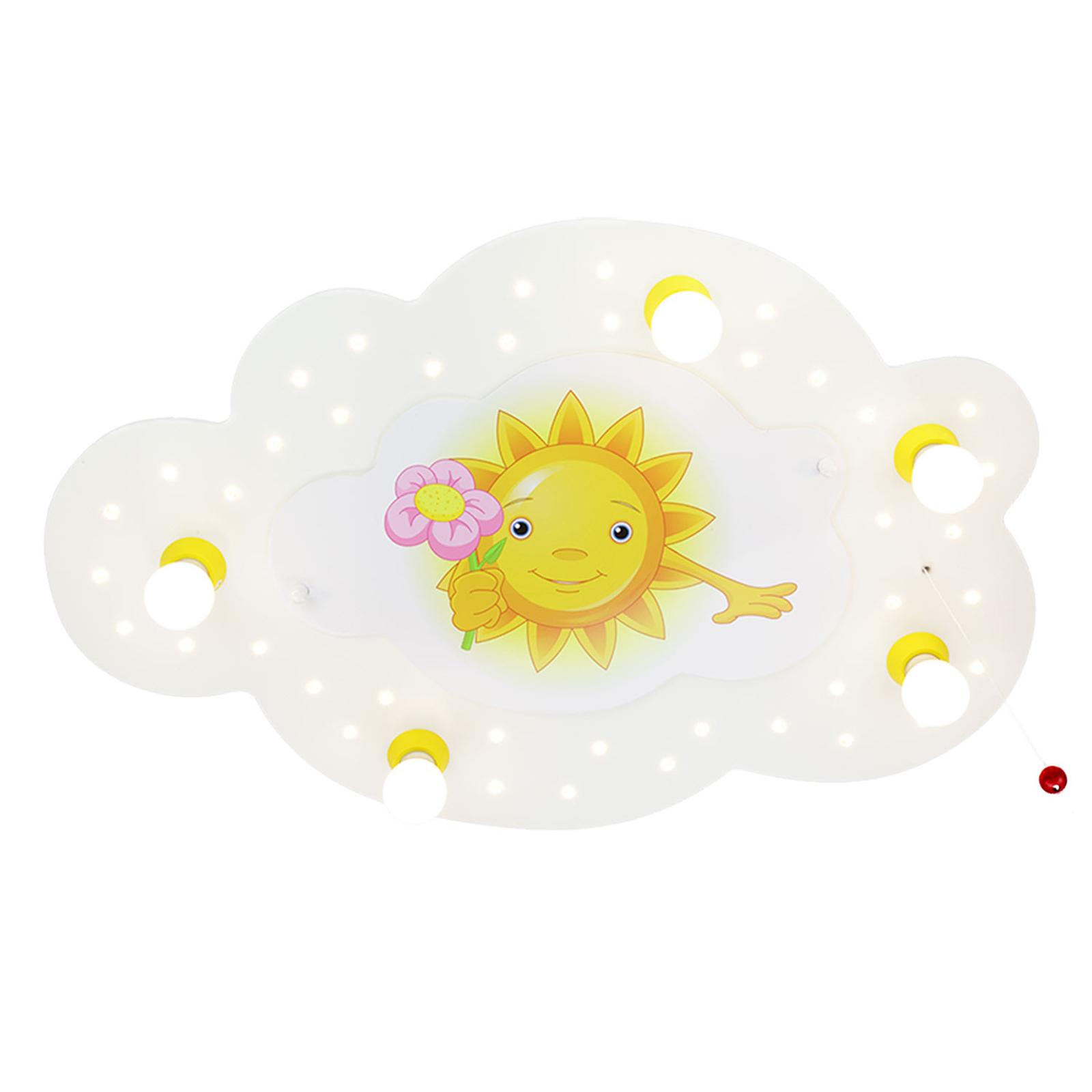 Taklampa Sol med blomma, 5 lampor, vit