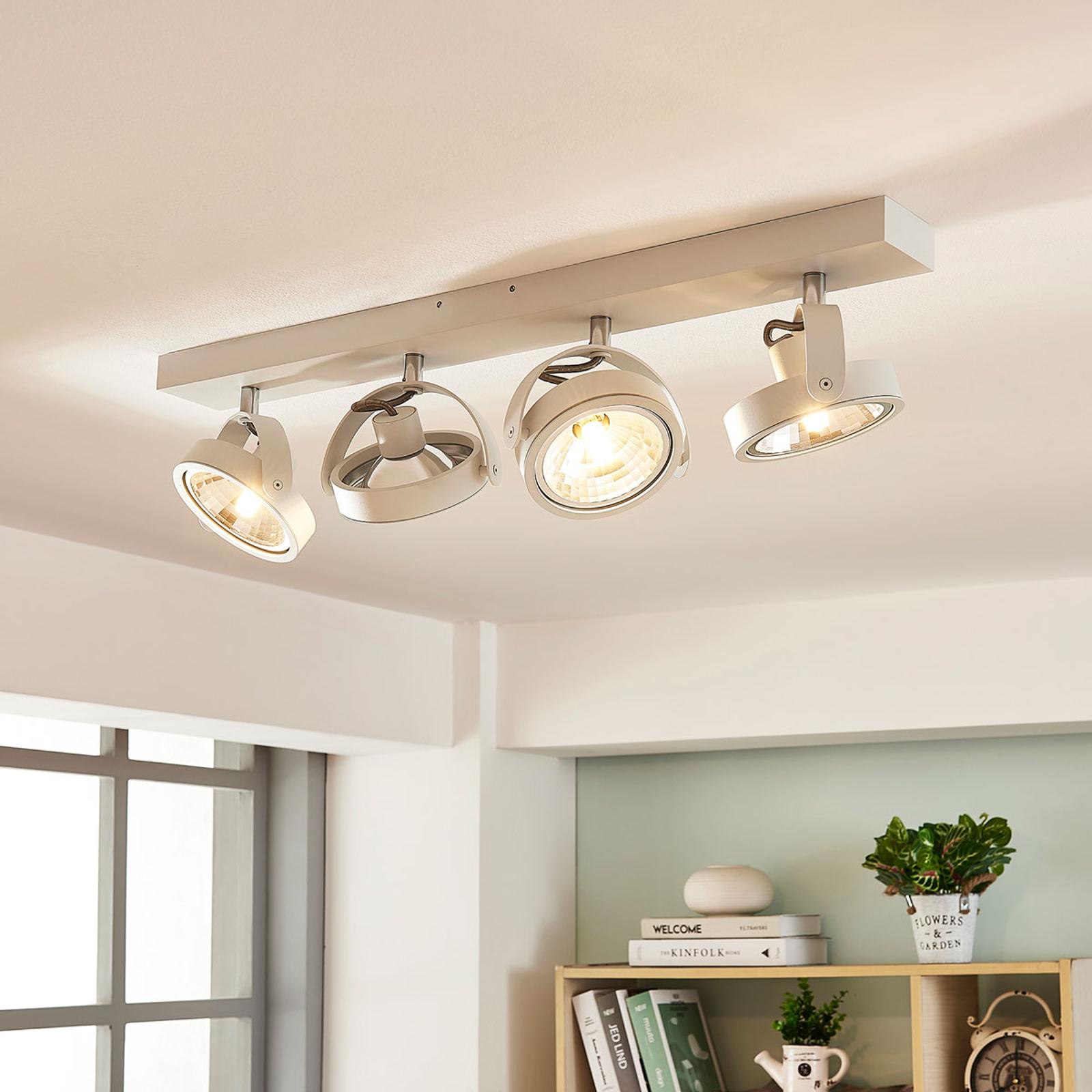Avlang, hvit LED-taklampe Lieven, 4 lys
