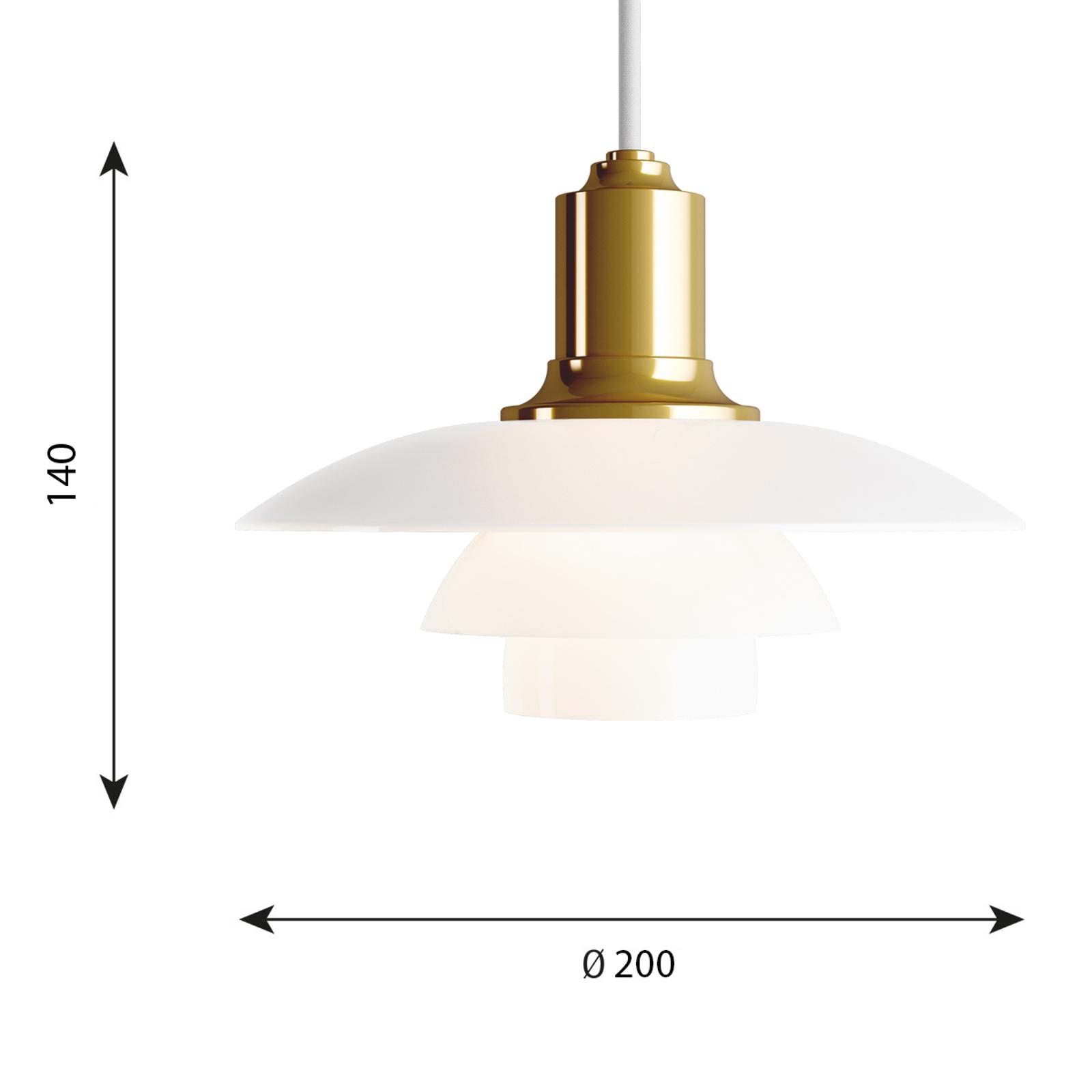 Louis Poulsen PH 2/1 glas-hanglamp messing