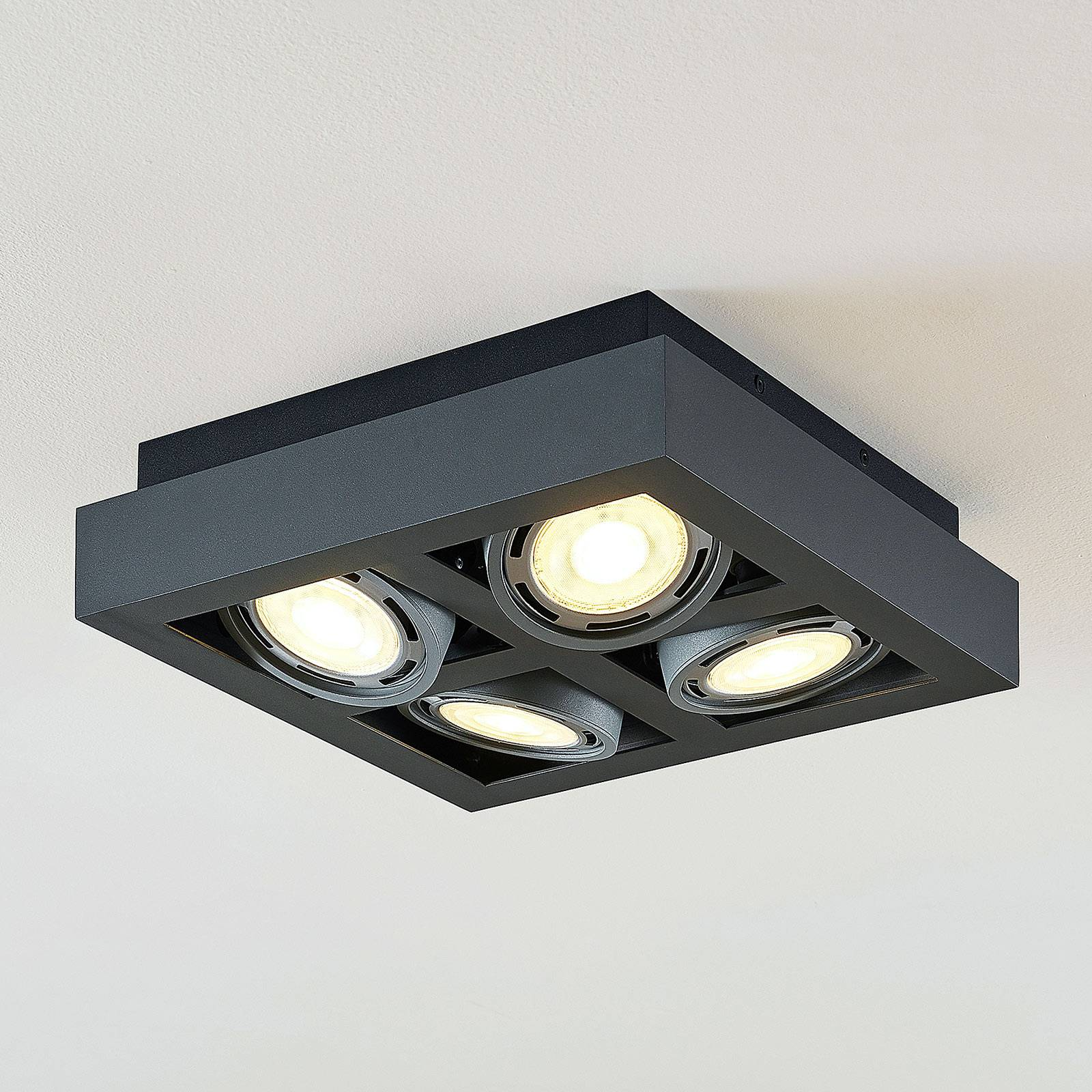 Plafoniera LED Ronka quadrata, 4 luci, grigia