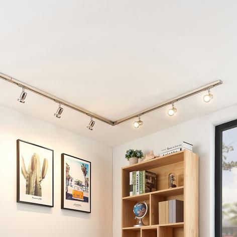 Sistema de riel LED Radmir, 1 fase, 6 luces níquel