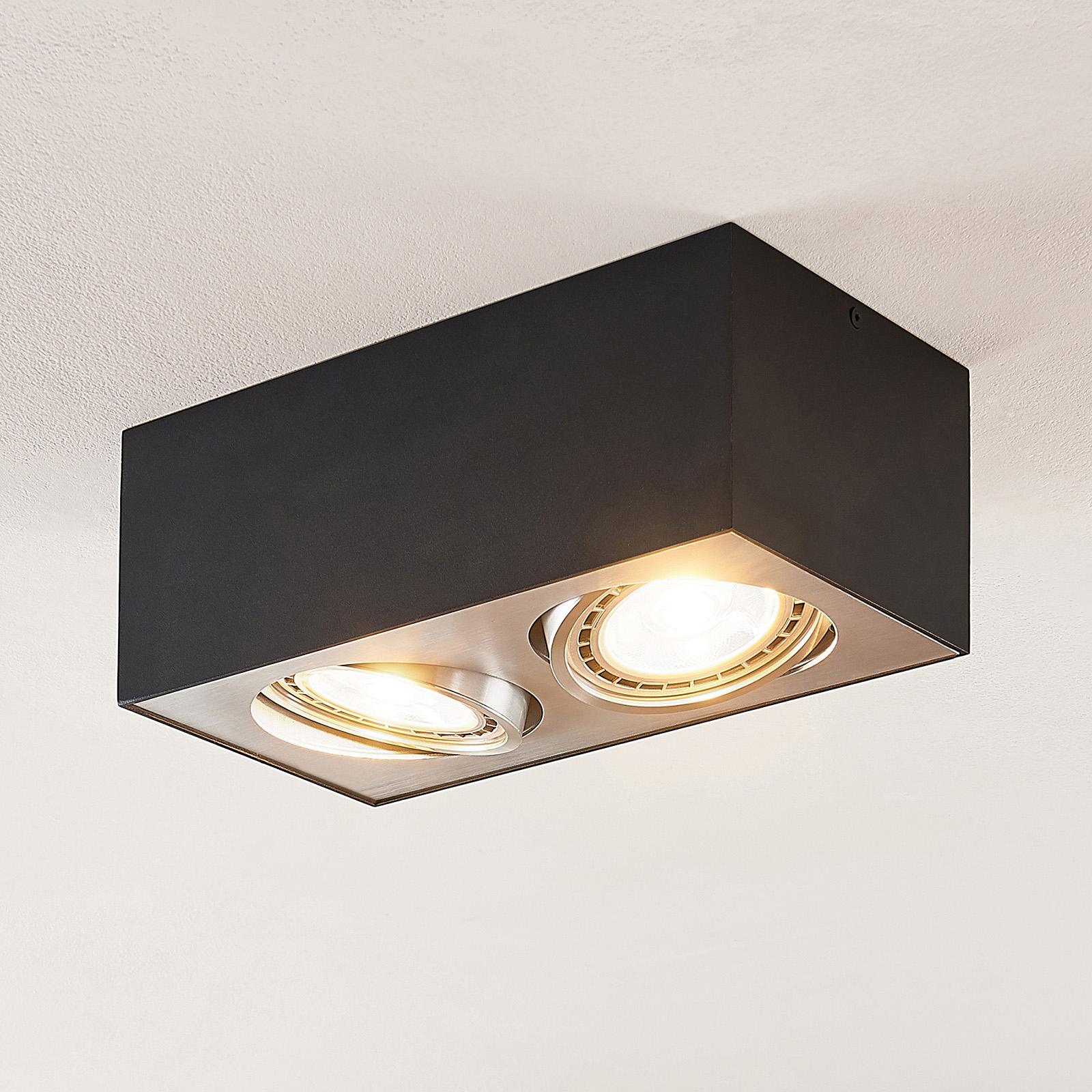 Arcchio Dwight lampa sufitowa LED czarna, 2-pkt.