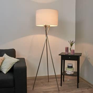 Fiby trebenet gulvlampe med hvid stofskærm