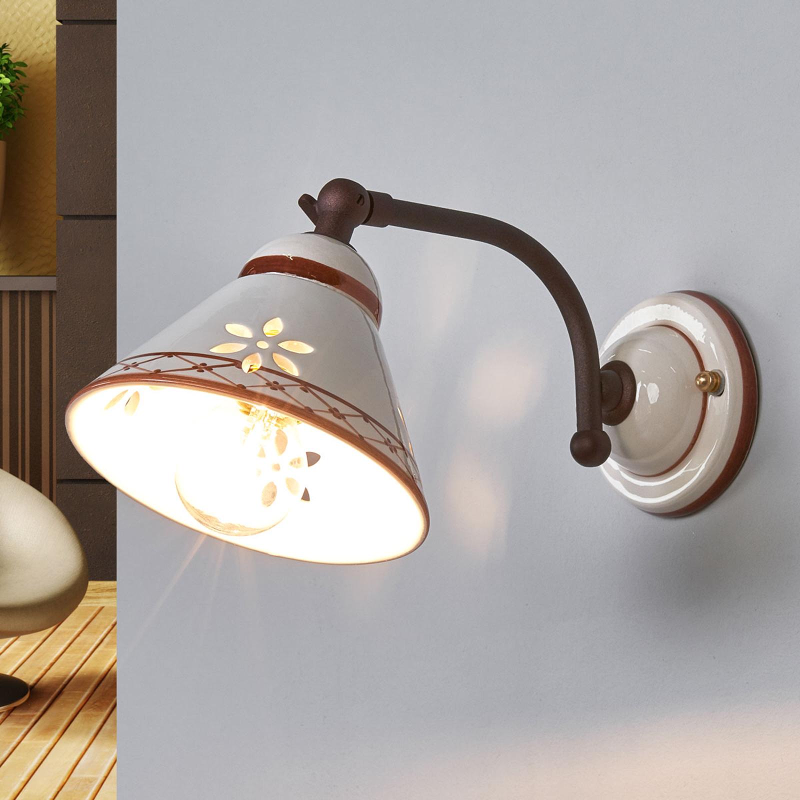 Ceramic wall light Annabell w/ movable spotlight_3046182_1