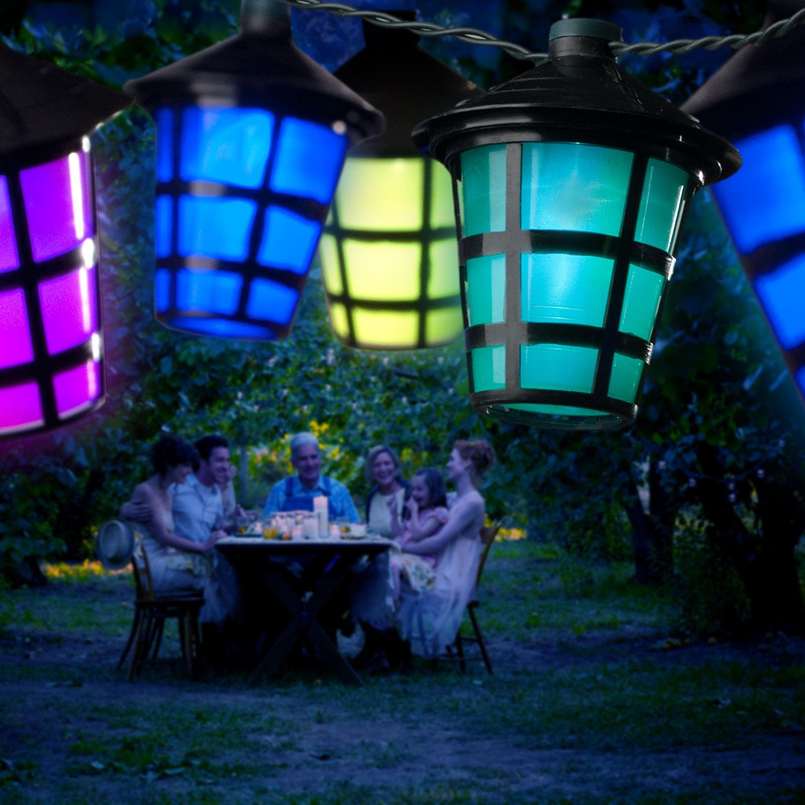 Außen-Lichterkette Lampion, 20 LED-Laternen bunt