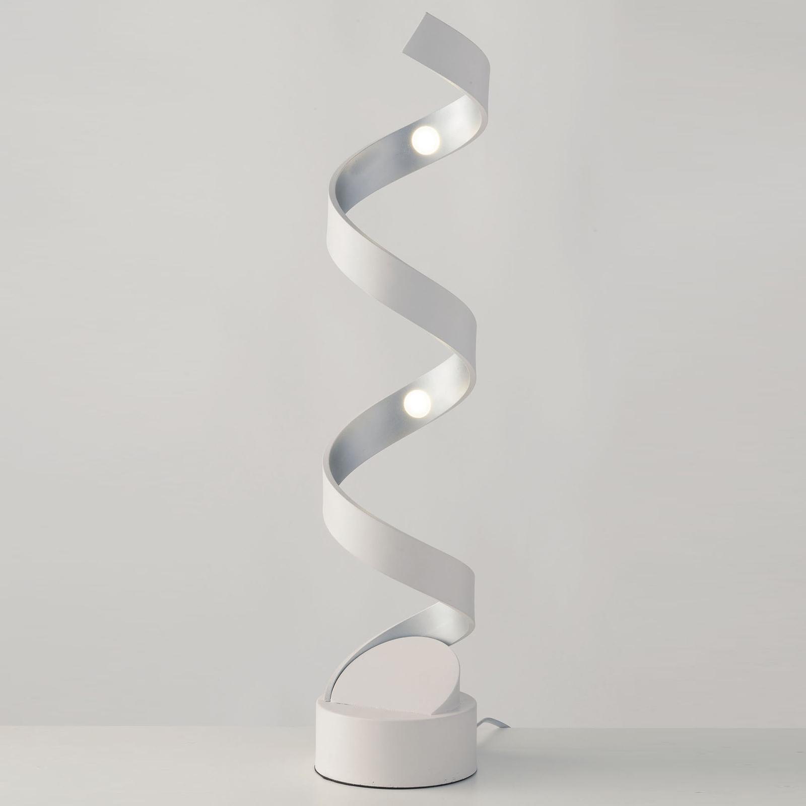 LED-Tischleuchte Helix, Höhe 74 cm, weiß-silber